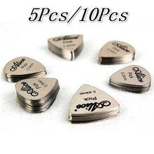 5 pces/10 pces metal picareta da guitarra 0.3mm fino durável prata cor profissional baixo ukelele picaretas