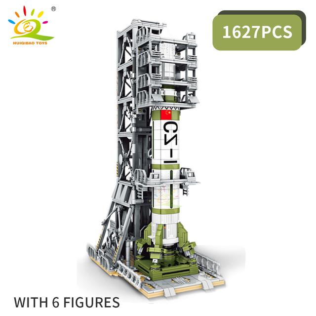 HUIQIBAO 1627PCS Space Artificial Satellite Rocket Building Blocks 6 Astronaut figures City Aerospace Bricks Toys For Children
