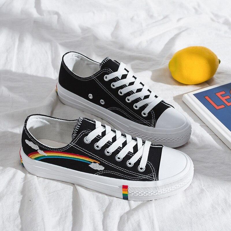 Women Vulcanized Shoes New Rainbow Retro Canvas Shoes Women Flats Fashion Sneakers Comfortable Casual Women Shoes Tenis Feminino