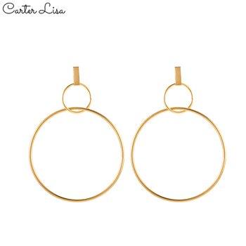 CARTER LISA mujeres Oro Grande pendiente con forma de gota circular minimalista moderno declaración colgante joyas oído brincos oorbellen