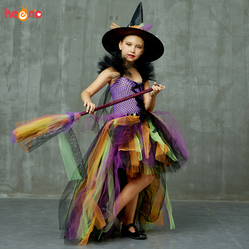 Girls Halloween Witch Tutu Dress Rainbow Trailing Tulle Kids Carnival Cosplay Party Dress Children Fancy Ball Gown Dress Costume 2