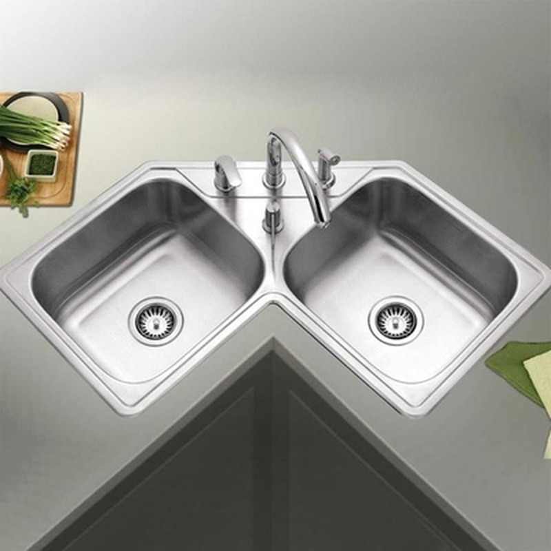Kitchen Sinks Corner 304 Stainless Steel Double Sink Corner Wash Basin With Pulling Faucet Vegetable Fruit Wash Pool Mx9210955 Aliexpress