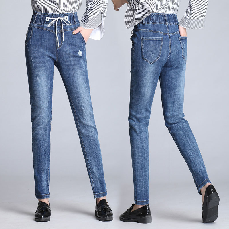 Spring And Autumn New Style Women's Korean-style Slimming Elastic Waist Jeans Women's Slim Fit Elasticity Versatile Trend Small