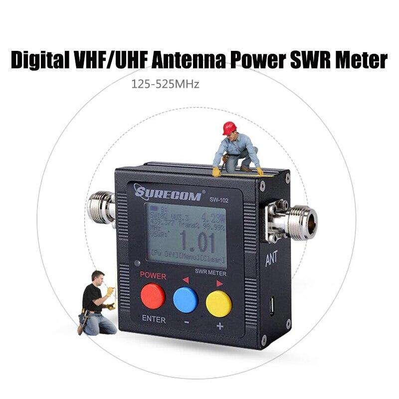 SW 102Digital LCD VHF/UHF Antenna Power Meter SWR Standing Wave Ratio Watt Meter 125-525Mhz For 2 Way Radios US Energy Monitor