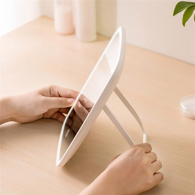 Portable Makeup Mirror LED Natural Light USB Refill Angle Adjustable Touch Control Brightness Dimmable Lights Women 4