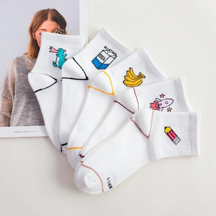 Cartoon Dinosaur Milk Banana Pattern Women Girl Cotton Sock Soft Warm Sock