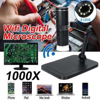 2MP cyfrowy mikroskop WIFI mikroskop 1000X kamera lupa 8 LED ze stojakiem na bezprzewodowy smartfon inspekcja telefonu komórkowego tanie i dobre opinie ZEAST 500X-1500X PORTABLE Z tworzywa sztucznego