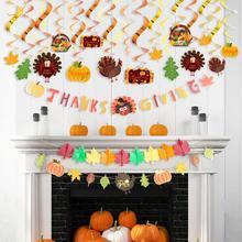 Thanksgiving Decorations Set Hanging Swirls Maple Leaf Flower Garland Banner Harvest Fall Autumn Decor Turkey