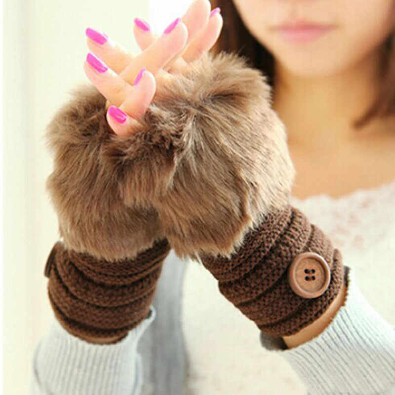Women Girl Warm Winter Faux Rabbit Fur Wrist Fingerless Gloves Mittens Lady Hand Warmer Winter Glove Mittens 2019 NEW