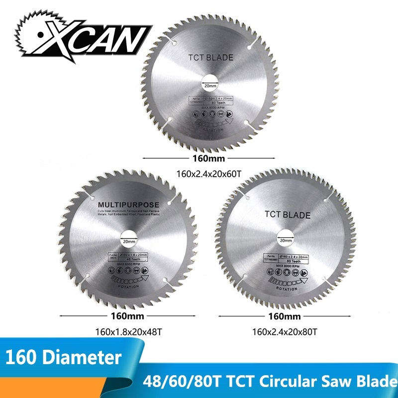 XCAN 1pc Circular Saw Blade 160mm Diameter 48/60/80T Wood Cutting Disc For Cut Acrylic Plastic Carbide TCT Circular Saw Blade