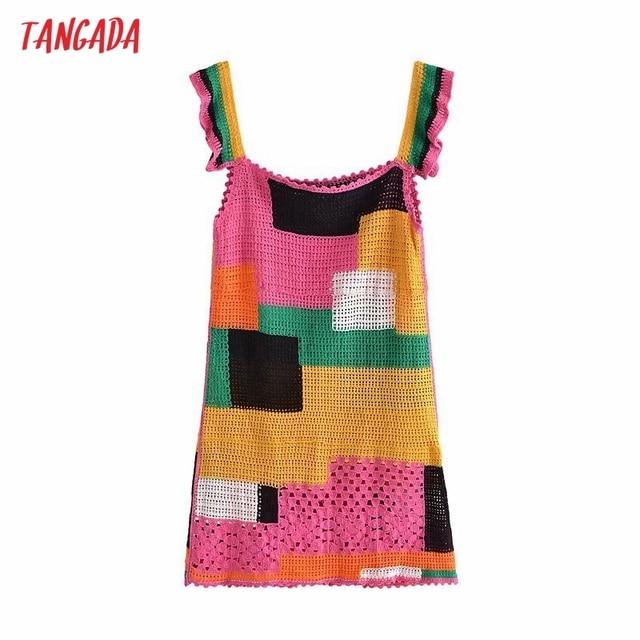 Tangada Women's Summer Dress Fashion Patchwork Crochet Dresses Ruffles Female Casual Beach Dress 3H771 1