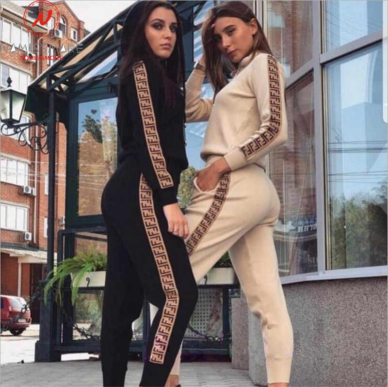 Women Autumn Streetwear Two Piece Outfits Side Stripe Design Hooded Decor O-Neck Long Sleeve Top+Elastic Waist Pencil Pants