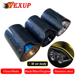 1PCS Automotive Car Gloss/Matte Carbon Fiber Rear Tail Exhaust Pipe Muffler Tip For BMW M Series With ///M And Inner Shell