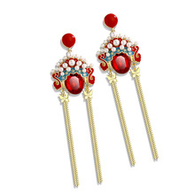 long tassel earrings earrings jewelry with new retro Chinese style Peking opera Facebook earrings for charm female традиционное китайское платье brand new peking cheongsam ccw005