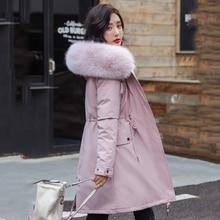 여성 긴 모피 칼라 두꺼운 다운 코트 슬림 후드 포켓 지퍼 2020 겨울 따뜻한 다운 재킷 솔리드 캐주얼 아웃웨어