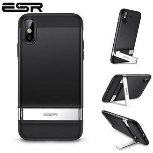 Image 1 - ESR حافظة لهاتف آيفون XR X XS Max SE2 8 7 Plus حافظة معدنية مسند عمودي أفقي حامل غطاء ممتص الصدمات لهاتف آيفون SE 2020 XS X