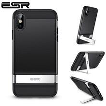 Esrケースiphone xr x xs最大SE2 8 7 プラス金属キックスタンドケース垂直水平スタンドバンパーカバーiphone se 2020 xs ×