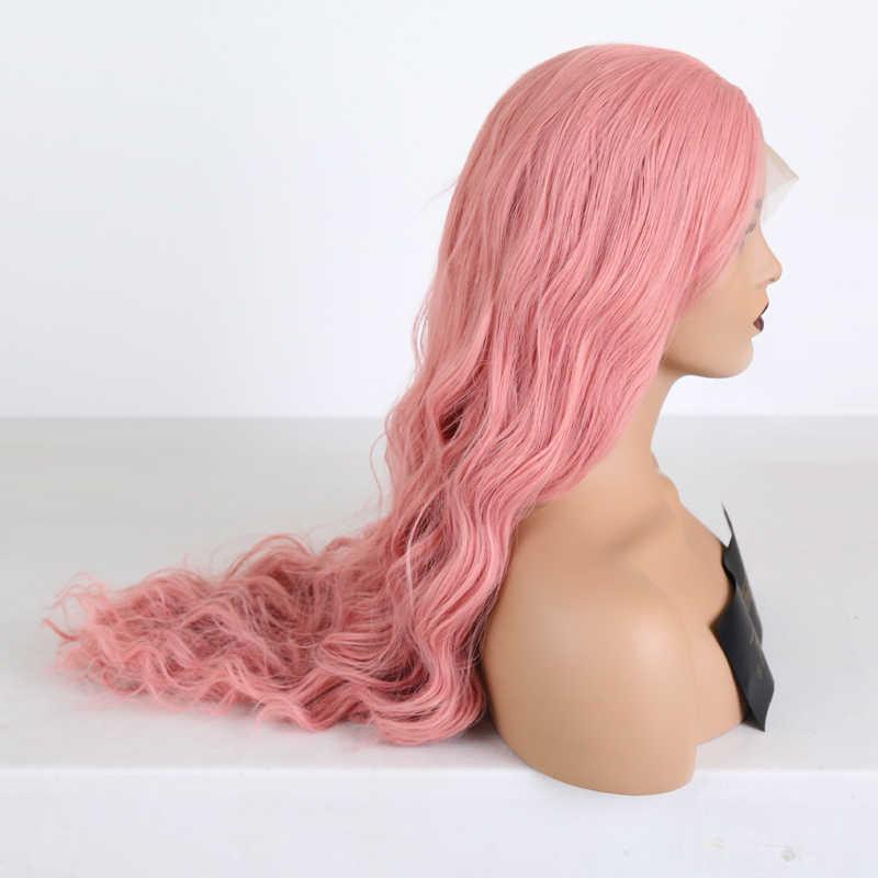 Rongduoyi auburn laranja fibra de alta temperatura cabelo longo onda profunda 13x3 peruca do laço perucas sintéticas da parte dianteira do laço para o lado feminino