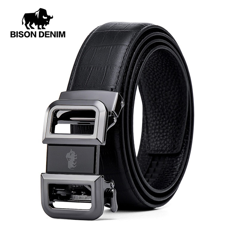 BISON DENIM Genuine Leather Men Belt Automatic Alloy Buckle Luxury Strap Cowskin Leather High Quality Male Belt N71505