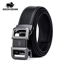 BISON DENIM Genuine Leather Men Belt Automatic Alloy Buckle Luxury Strap Cowskin High Quality Male N71505