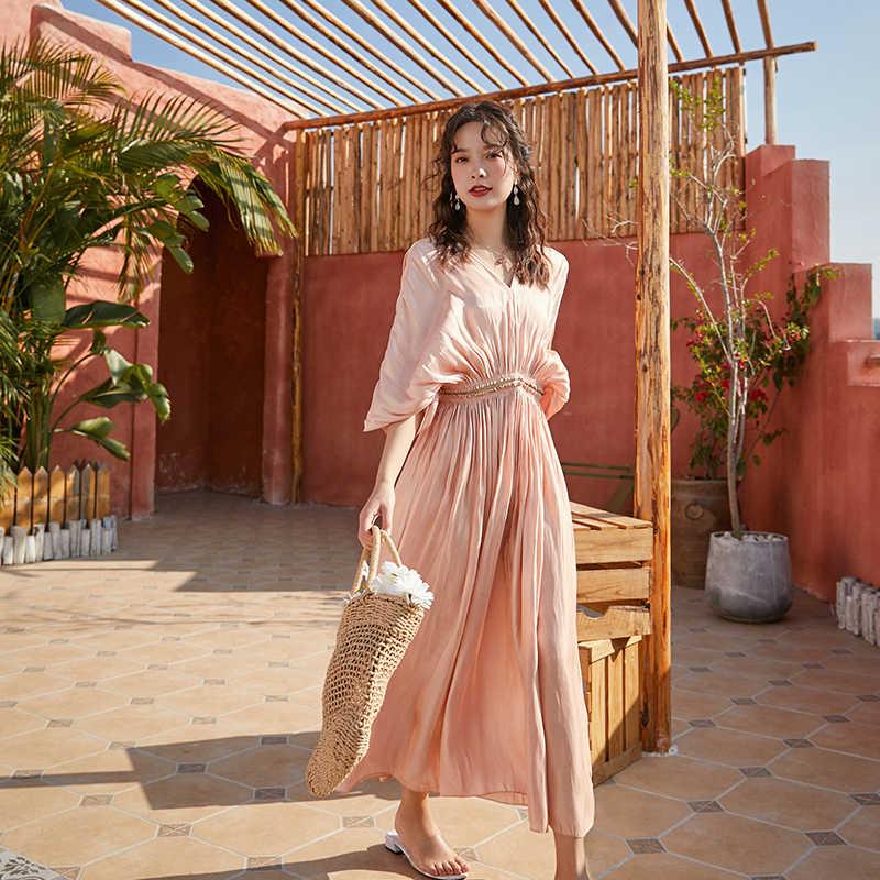 Moda kadınlar yeni varış şifon uzun seksi resmi elbise vintage parti zarif yüksek kaliteli plaj yaz gevşek pembe evaze elbise
