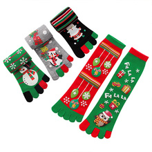Christmas Women socks warm sports five-fingered toe funny for girlfriend surprise gifts happy