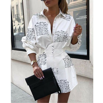 Women V-Neck Long Sleeve Blouse Casual Loose Mini Dress Shirts Blouse Top Lady Clothing Autumn Brief Long Sleeve Button Down