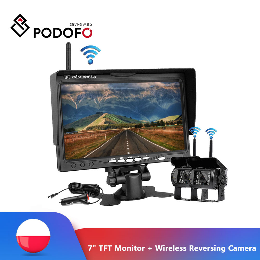 "Podofo Wireless Rear View Reversing Camera & IR Night Vision 7"" Car Monitor Kit for Truck Bus Caravan Trailer Reverse System