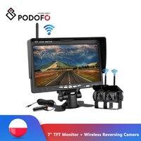 Podofo Wireless Rear View Reversing Camera & IR Night Vision 7 Car Monitor Kit for Truck Bus Caravan Trailer Reverse System