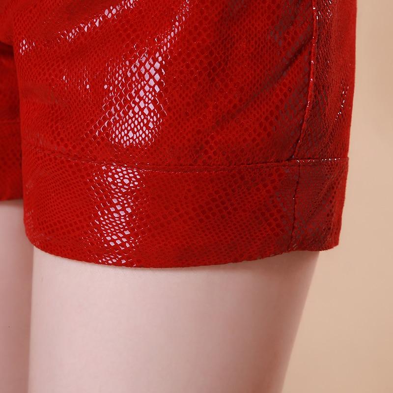 Snake Print Genuine Leather Shorts Women Brand Red/Black Slim Elastic Waist Short Pants Street Casual Sheepskin Shorts Femme