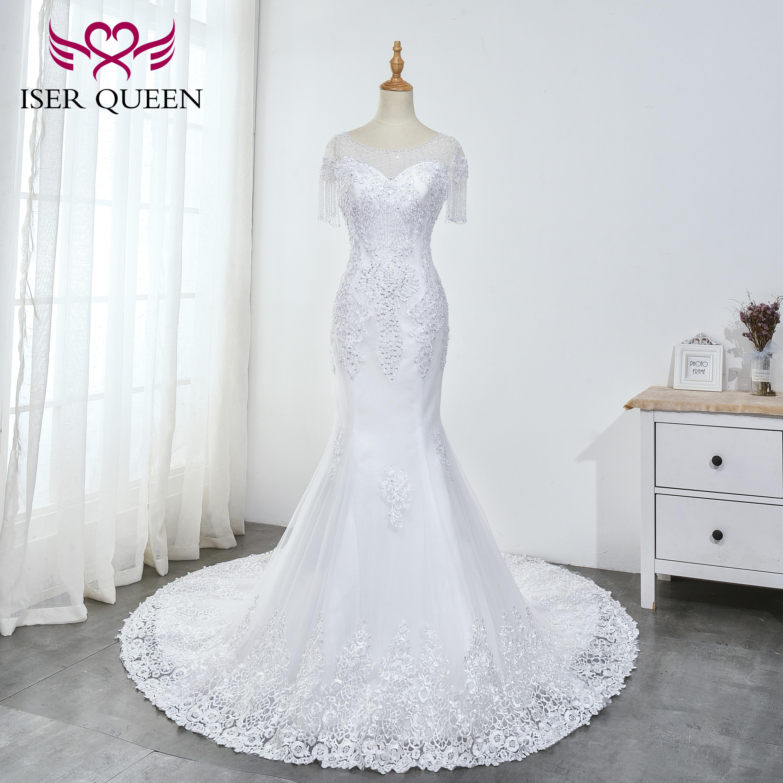 Illusion Short Sleeves Beading Pearls Crystal Mermaid Wedding Dresses 2020 New Pure White Elegant Embroidery Bridal Dress WX0035