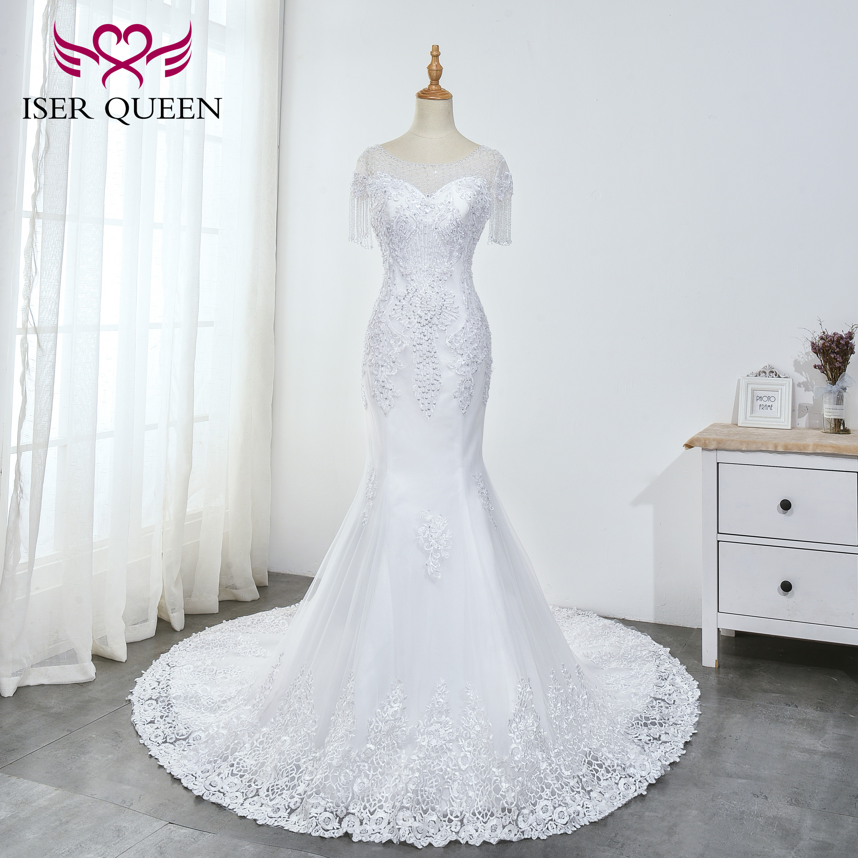 Illusion Short Sleeves Embroidery Sequined Beading And Pearls Crystal Mermaid Wedding Dresses Pure White Elegant Vestido WX0035