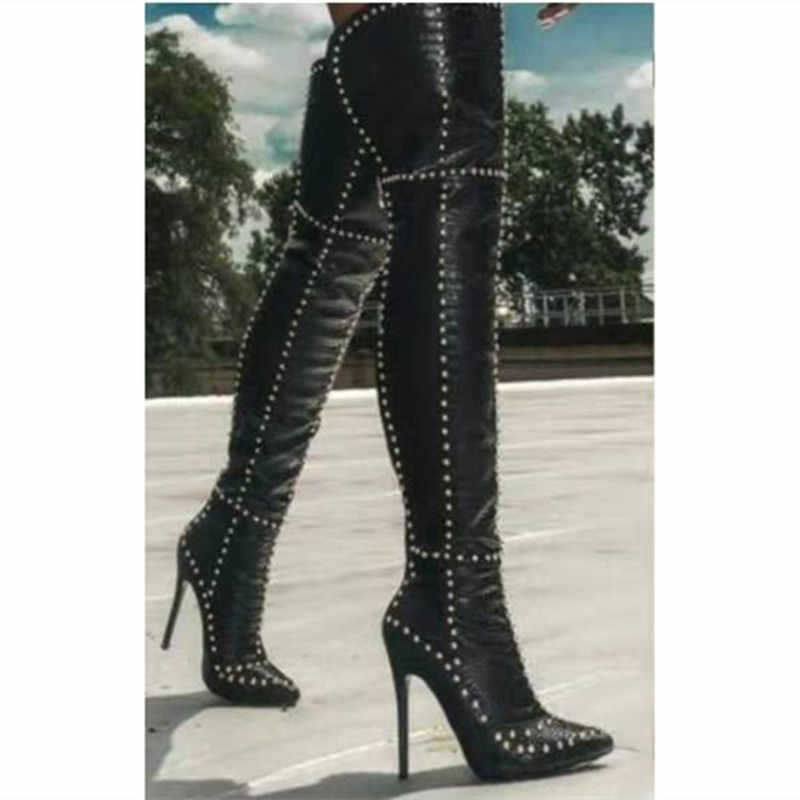 Womens Velvet Knee High Boot Rivet Block High Heel Pointed toe lace up shoes New
