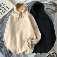 Woman's Solid 12 Colors Korean Hooded Sweatshirts Female 2020 Cotton Thicken Warm Hoodies Lady Autumn Fashion Tops