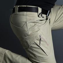IX9 taktyczne spodnie wojskowe wodoodporne spodnie Cargo mężczyźni oddychające SWAT Army Solid Color Combat długie spodnie praca biegaczy S-5XL tanie tanio ZHAN DI JI PU Cargo pants Mieszkanie Poliester COTTON Akrylowe Kieszenie REGULAR Pełnej długości Military Midweight Suknem
