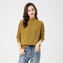 LHZSYY 2019Autumn Winter New Women 100%Pure Cashmere Sweater Fashion Thick Large Size High Collar Pullover Warm Bottoming Blouse