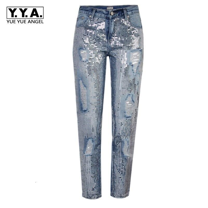 Sequin Hole Jeans Women Bottom Streetwear Zipper Fringe Ripped Jeans Pants 2020 Spring Trousers Boyfriend Loose Female Denim