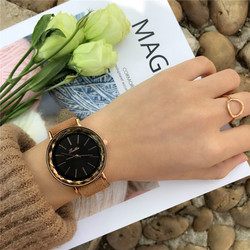 casual style leather band quartz watch for women ladies analog clock relogios relojes