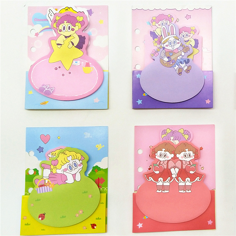 4pcs INS Cartoon Twin Girl Sticky Note 3D Cover Mini Star Music Adhesive Post Memo Marker It Journal Sticker Office School A6360