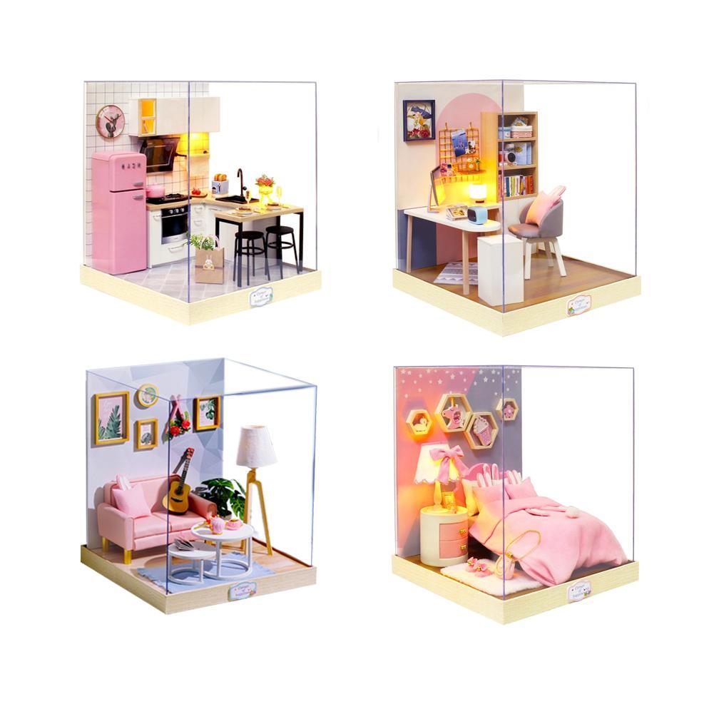 4 Styles cadeau éducatif pour bricolage cabine BT bonheur maison série fait à la main grande maison assemblé modèle jouets pour enfants