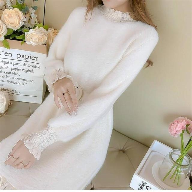 2020 New Dress Long Sleeved  Accept Waist Lace Knitted Sweater Knit Dress Lady 2