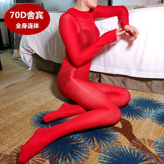 Bas de corps pour femme, Sexy, sans entrejambe, brillant, ouvert, à lhuile, tenue une pièce, 70D