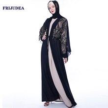 FRIJUDEA Women Luxury Abaya Dress Open Style Muslim Robe Long Dress Caftan Dubai Jilbab Woman Abayas Kaftan