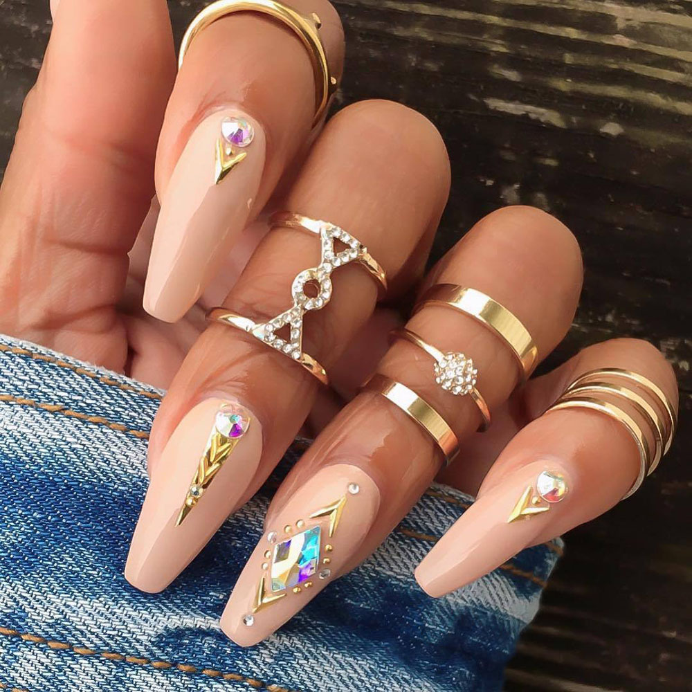 Modyle 5pcs/sets Bohemian Geometric Rings Sets Chain Opening Rings for Women Jewelry Accessories Gold Clear Crystal Stone Party