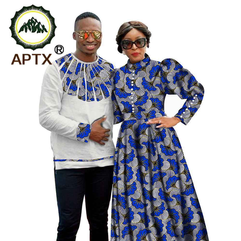 African Couple Clothes Women Long-Sleeved Dress or Men's Shirt  Wax Prints Fabric Super Casual Clothing S20C003