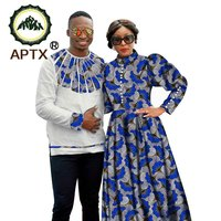 African Couple Clothes Women Long Sleeved Dress or Men's Shirt Wax Prints Fabric Super Casual Clothing S20C003
