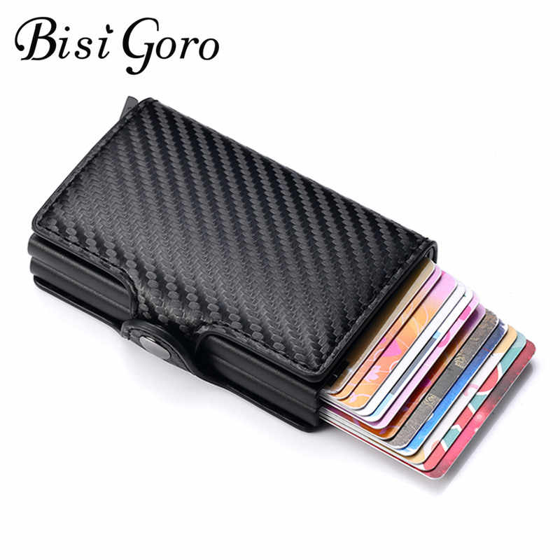 BISI GORO Double Boxes Wallets Carbon Fiber Multifunctional Card Case Anti-theft Aluminum Box RFID Card Holders Dropshipping