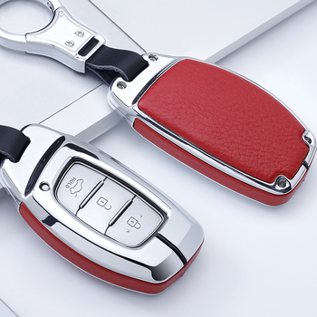 For Hyundai Verna Sonata Elantra Tucson Auto Creta I10 I20 Santa Fe2016 2017 2018 Zinc alloy+Genuine Leather car key case cover