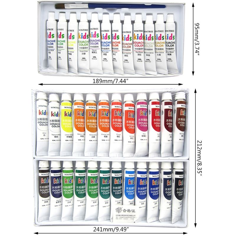 Gouache Paint Set 24 Vibrant Colors In Tubes Convenient To Mix With Great Result R9UA