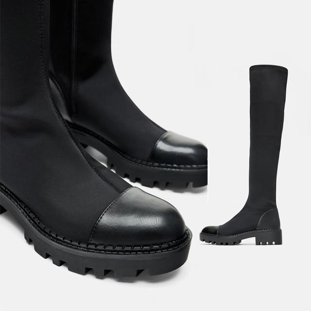 Same DesignWomen's over-the-knee Boots Elastic Slim Boots 2020 Winter  New Round  Toe Zipper High Boots 2